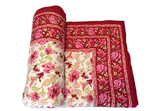 Shop Rajasthan Reversible Floral Print Cotton Single Bed Quilt Razai