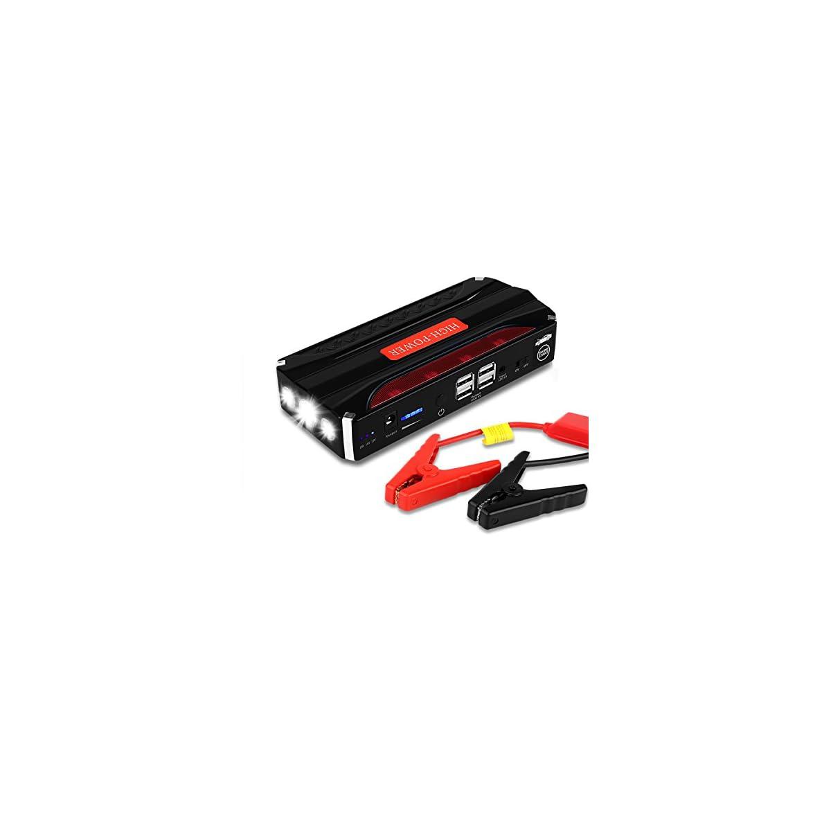51hFIarj0TL. SS1200  - Jump Starter Batería Portátil de Emergencia para coche, YOKKAO Arrancador de Emergencia para coche 16800mAh 600, Kit de Arranque para coche con USB, Luz LED, Cargador Power Bank para Coche, Moto, Laptop, Smartphone, etc.