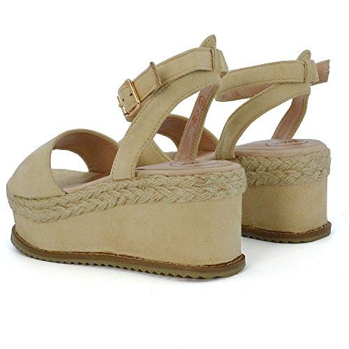 ESSEX GLAM Damen Knöchelriemchen Plateau Kork Espadrilles Sandalen Flach Mit Keilabsatz Schuh Hautfarbe Kunstwildleder