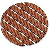 Aris 2109/P - Tarima De Ducha Ronda De madera De Gombe Impregnado Ø 60 cm - Fabricado En Italia - Color De La Madera