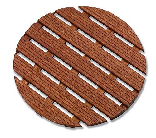 Aris 2109/P – Tarima De Ducha Ronda De madera De Gombe Impregnado Ø 60 cm – Fabricado En Italia – Color De La Madera