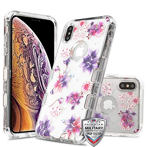 Case+Tempered_Glass + Stylus-Eingabestift für Apple iPhone XS Max/XS Plus MYBAT Transparent Transparent Transparent/Stargazers Lila/Pink Blumen
