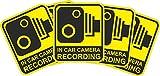 INDIGOS UG - Aufkleber/Sticker - gelb - Warnung Sicherheit - Kamera Dash Cam Aufnahme Dashcam - 60x51 mm - 10 Stück - JDM/Die cut - CCTV, Auto, Van, Truck, Taxi, Bus