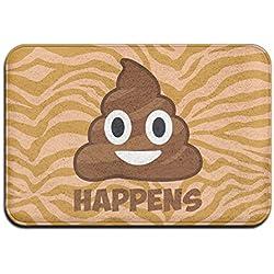 Suave y antideslizante caca Happens Emoji alfombrilla de baño Coral alfombra alfombrilla de puerta entrada alfombra alfombrillas para frontal exterior puerta entrada alfombra 40x 60cm.