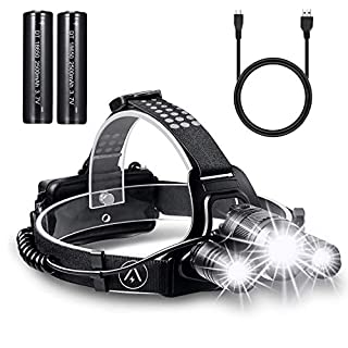 Akale Rechargeable Head Torch, Super Bright CREE LED Headlamp, Waterproof Focusable Headlight, Best Head Lamp for Cycling, Climbing, Camping, Dog Walking, Hiking (USB Cable Included)