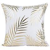 JOTOM Or Foil Impression Taie d'oreiller Canapé Taille Home Decor, estampage Chaude Conception Housse de Coussin pour Canapé Voiture 45x45 cm (Feuille d'or 2)