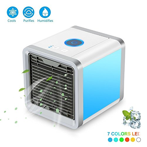 TMKOO Mini Air Cooler Mobile Air Conditioner Refrigerador de Aire con Ventilador de Aire Acondicionado de la Habitación de Agua, Aire Acondicionado USB Refrigerador de Aire 3 en 1 Ambiente