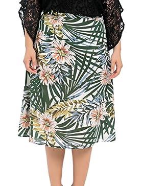Chicwe Falda de Tablas Tallas Grandes Mujeres Faldas Largas con Forro Estampado Floral EU46-58