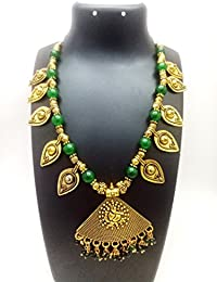 ShreeVari Fashion Gold Plated Kathyawadi Golden Necklace Set With Earrings For Women