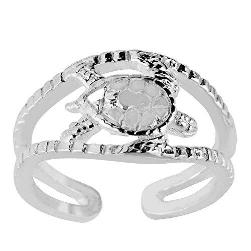 JewelryAffairs Zehenring Sterling Silber Sea Turtle Manschette Stil verstellbar