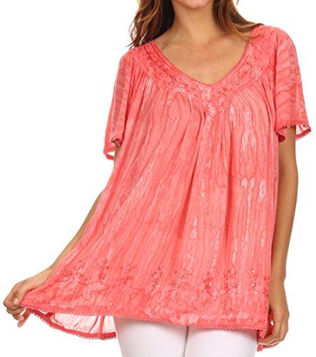 Sakkas Elaine – maglia larga a stampa batik con girocollo e maniche larghe, con ricami Rosa