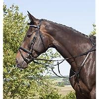 WB QHP Vorderzeug mit Luxus-Nähten abnehmbares Martingal schwarz braun Pony