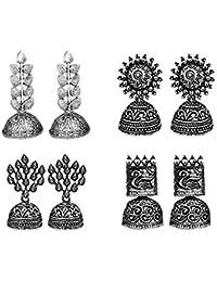 JewelMaze Jewelmaze Set Of 4 Earrings Combo (silver)(1004003) Silver Plated Jhumki Earrings for Women (Silver) (1004003)