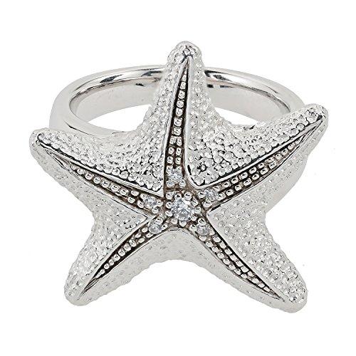 Pfeffinger Damen Ring Sterling-Silber 925 rhodiniert Seestern Zirkonia RW16