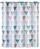 Wenko 22481100 Anti-Schimmel Duschvorhang Ethno Flex, Anti-Bakteriell, wasserabweisend, waschbar, schimmelresistent mit integrierter Hängeeinrichtung, 100% Polyester, 180 x 200 cm, mehrfarbig