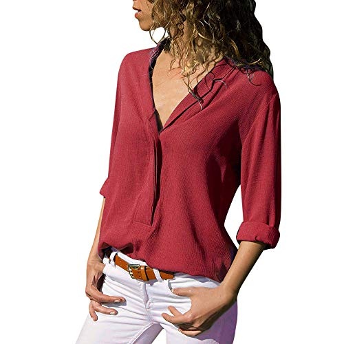 XuxMim Frauen Animal Print Langarm Scoop Neck Bodysuit Damen Stretchy Trikot Top S/M, M/L(Rot-2,Large) -
