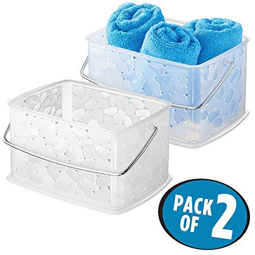 mDesign Badkorb für Ihr Badezimmerzubehör – zweiteiliges Aufbewahrungskorbset mit Henkel für Badutensilien – durchsichtig