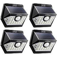 【3 Modes Intelligents】 Lot de 4 Mpow 30 LED Lampes Solaires Extérieur Etanche IP65, Spot Solaire Détecteur de Mouvement, Eclairage Exterieur pour Jardin, Maison, Garage, Cour, Mur, Escalier, Patio