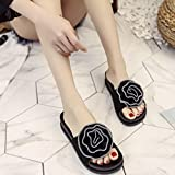 Summer Slippers,Bestoppen Women Fashion Mid Heel Big Flower Platform Slippers Evening Party Flip Flop Ladies Casual Outdoor Non-slip Wedge Slippers Slip On Beach Loafer Sandals Shoes Size 3-6 (EU:35, Black)