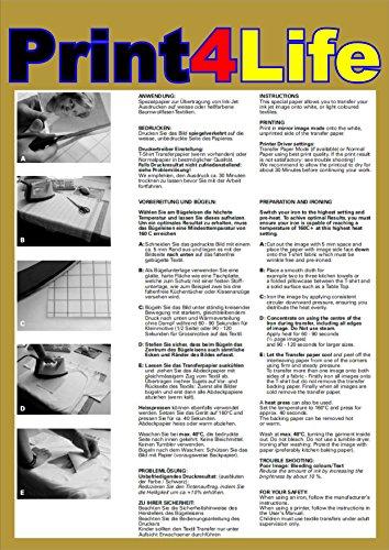 P4L - 3 Blatt DIN A4 Textilfolie - T-shirt Folie für weiße und helle Textilien Siebdruck Drucker