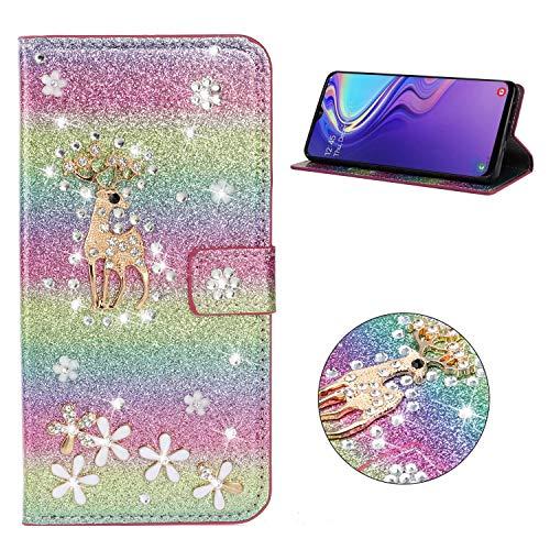 Miagon Hülle Glitzer für Samsung Galaxy M20,Luxus Diamant Strass Hirsch PU Leder Handyhülle Ständer Funktion Schutzhülle Brieftasche Cover,Regenbogen Rosa