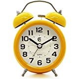 """JCC 3"""" Retro Twin Bell Silent Non Ticking Sweep Second Hand Bedside Analog Quartz Alarm Clock wake up clock with Night light and Loud Alarm (Yellow)"""