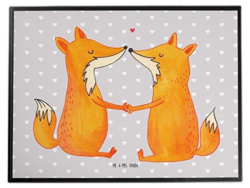 Mr. & Mrs. Panda Unterlage, Schreibtisch, Schreibtischunterlage Füchse Liebe - Farbe Grau Pastell