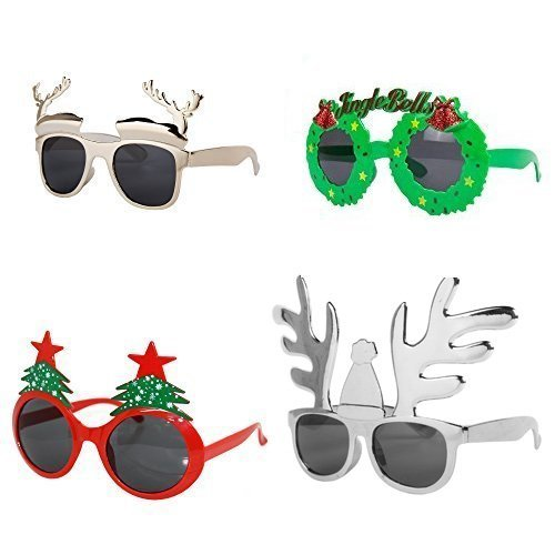 Brille Weihnachten (4er packung Verschiedene Neuheit Weihnachten Verkleidung Plastik Brillen)