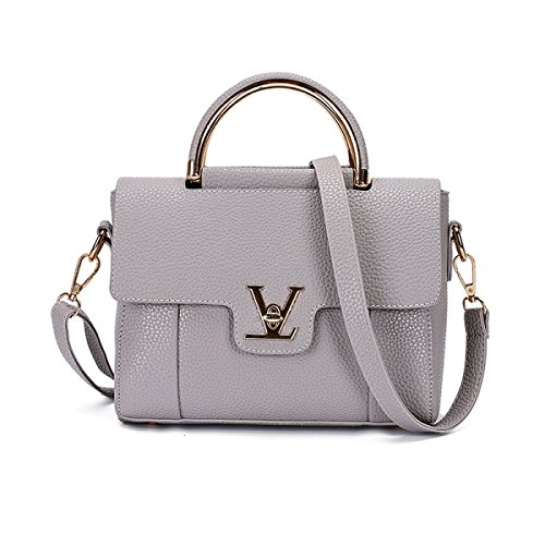 Dame Retro Handtaschen Umhängetasche Portable Messenger Bag,Pink Gray