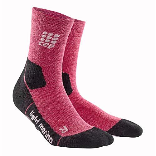 CEP - Outdoor Light Merino MID-Cut Socks für Damen | Warme Wandersocken in rot | Größe III
