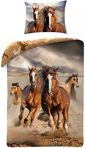 Cavallo Cavalli Marrone HORSE Riding Set Letto , COPRIPIUMINO 140x200 singolo 100% COTONE Biancheria Da Letto