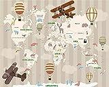 HHCYY Benutzerdefinierte Große 3D-Tapete Von Hand Gezeichnete Cartoon Kinder Zimmer Karte Heißluftballon Hintergrundbild120cmx100cm