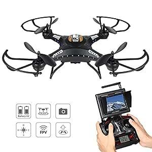 Potensic Drone con Telecamera, 5.8GHz FPV Monitor 4CH 6-Axis Gyro RC Quadcopter Drone con videocamera HD, 3D Flips funzione - nero