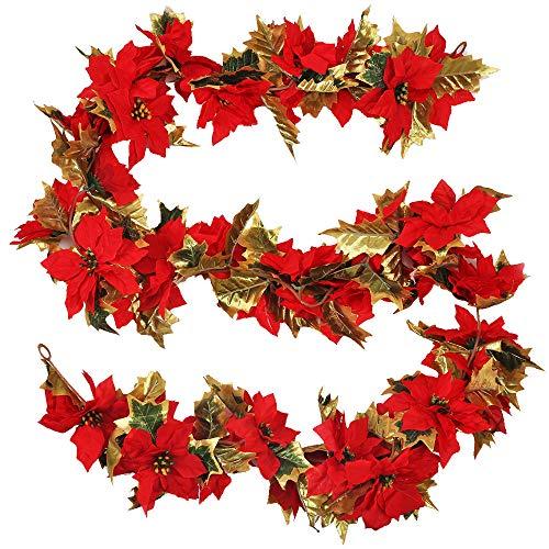 HUAESIN Plantas Artificiales Navidad Guirnalda Navideña