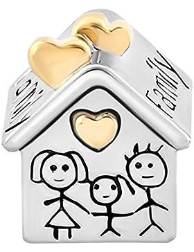 uniqueen Familie Haus Mutter Vater Kind zusammen Perlen Charm Silber für Pandora, Chamilia und Troll Armband