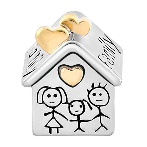 Uniqueen, charm a forma di casa con madre, padre e bambina, adatto per braccialetti chamilia e troll
