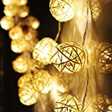 Battery Operated Waterproof Fairy Lights with 10 LED Beige Rattan Ball String