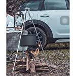 Zerich Camping Tripod Campfire Cooking Dutch Oven Tripod Portable Outdoor Picnic Foldable Cooking Tripod Barbecue Accessory Cooking Lantern Tripod Hanger with Storage Bag for Camping Activities#7824 15