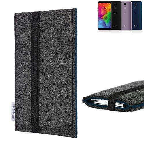 flat.design Handyhülle Lagoa für LG Electronics Q7 Alfa | Farbe: anthrazit/blau | Smartphone-Tasche aus Filz | Handy Schutzhülle| Handytasche Made in Germany