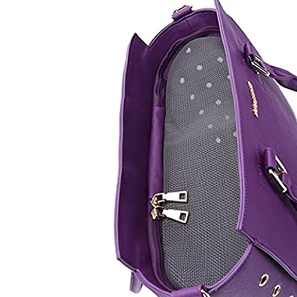 YiHao Dog Carriers Airline Approve Portable Convenient Lightweight Outdoor Travel Pet Carrier Handbag 8009 (Purple) 4