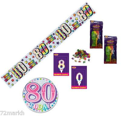 80th Birthday Pink Party Pack Banner, Balloons, Confetti, Number Candles, Mega Badge