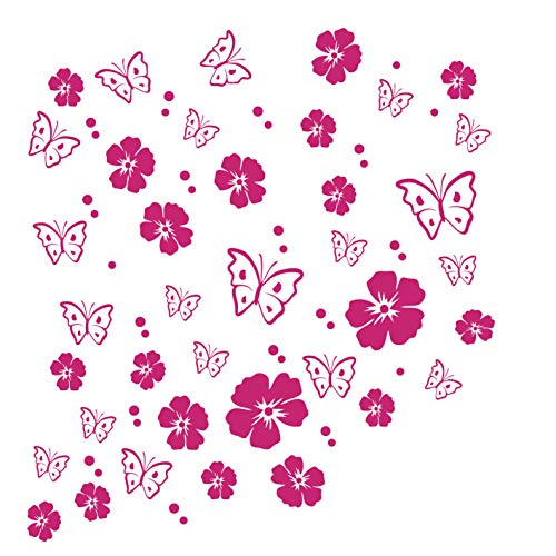kleb-Drauf / 19 Blüten, 19 Schmetterlinge und 42 Punkte/Pink - matt/Autoaufkleber Autosticker Decal Aufkleber Sticker/Auto Car Motorrad Fahrrad Roller Bike/Deko Tuning Stickerbomb Styling Wrapping
