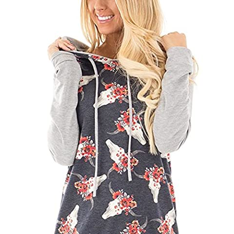 CINDY LOVER Casual Winter Long Sleeve Floral Print Black Grey Hoodie T-Shirt Plus Size X-Large