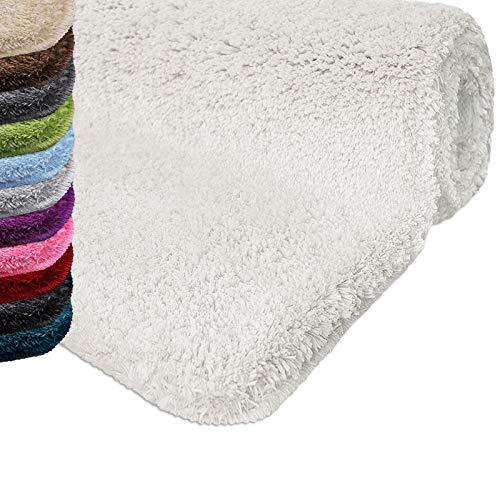 casa pura Badematte | kuscheliger Hochflor | Rutschfester Badvorleger | viele Größen | zum Set kombinierbar | Öko-Tex 100 Zertifiziert | 60x50 cm| Snow White (weiß)