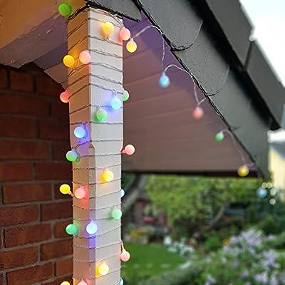 Party Lichterkette bunt 20m mit 80 LED Kugel Strombetrieben RGB IP44 für Balkon, Terrasse, Biergarten oder Party-Keller (80LED) von Dszapaci
