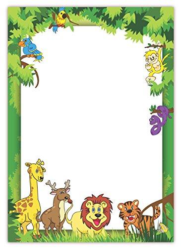 LYSCO  Motivpapier (Dschungel-5037, DIN A4, 100 Blatt) - Briefpapier für Kinder mit Urwaldtieren Papagei Giraffe Löwe und mehr