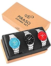 PIRASO Combo Set of 3 Analogue Watches for Women (White)
