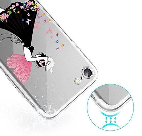 GIRLSCASES® | iPhone 8 Plus / 7 Plus Hülle | Im Meerjungfrau Motiv Muster | in bunt | Fashion Case transparente Schutzhülle aus Silikon Tinkerbell Fee 1