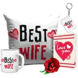 Tied Ribbons Romantic Valentines Gifts Best Wife Gift Combo (Cushion,Coffee Mug,Keyring,Rose With Greeting Card)