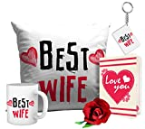 #9: Tied Ribbons Romantic Valentines Gifts Best Wife Gift Combo (Cushion,Coffee Mug,Keyring,Rose With Greeting Card)